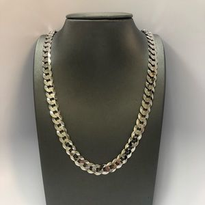 Jewelry - 14 K White Gold plated Cuban chain, Italian silver